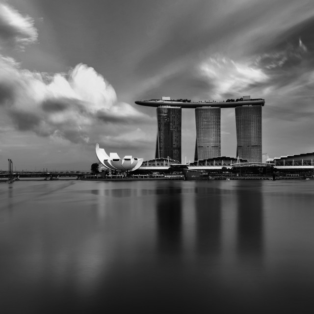 """""""Black and White - Marina Bay Sands an Singapore's Flyer"""" stock image"""