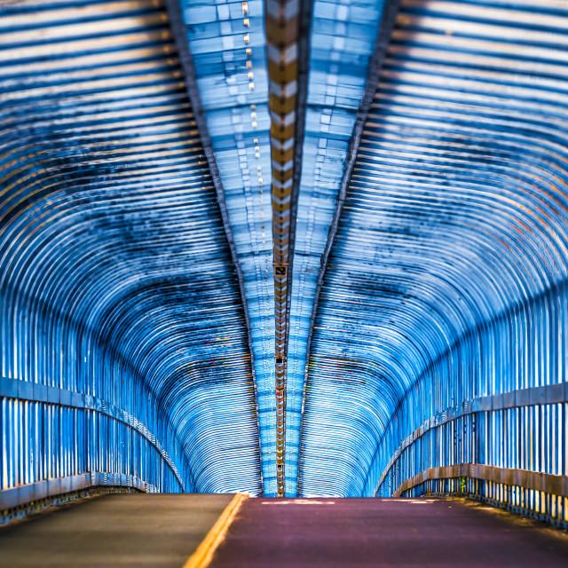 """Cycle Bridge, Cambridge South Train Station."" stock image"