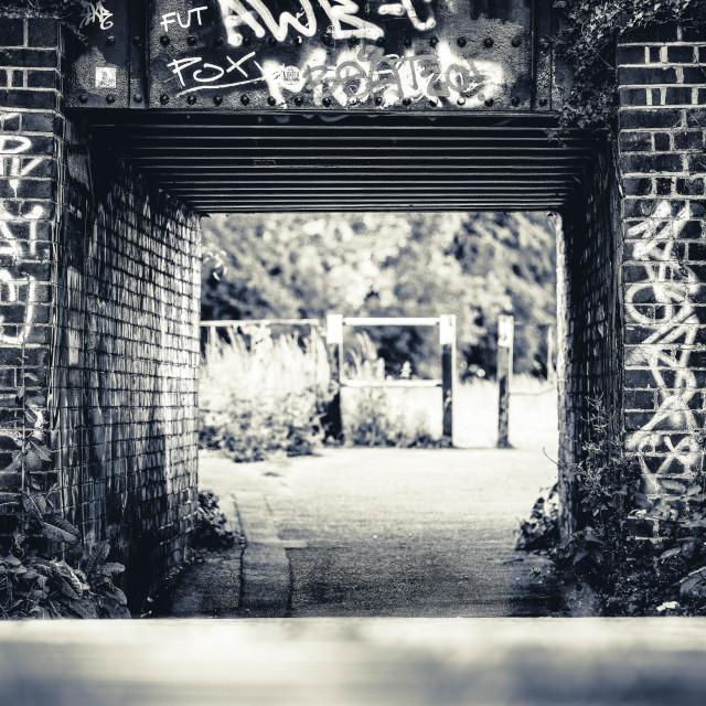 """Graffiti Bridge, Coldhams Common, Cambridge UK."" stock image"