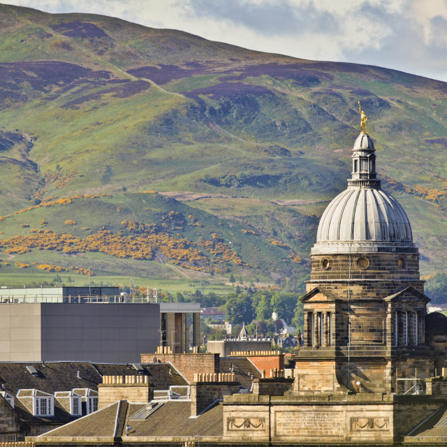 """Pentland Hills with Old College in Foreground, Edinburgh"" stock image"