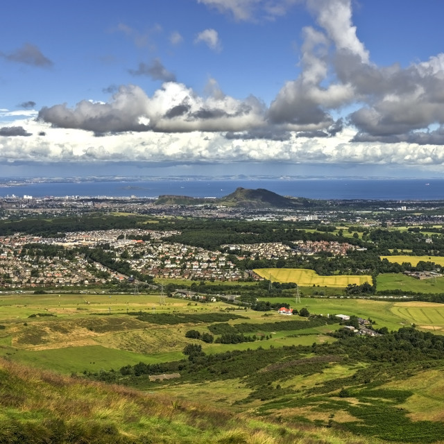 """Edinburgh Vista from Pentland Hills"" stock image"