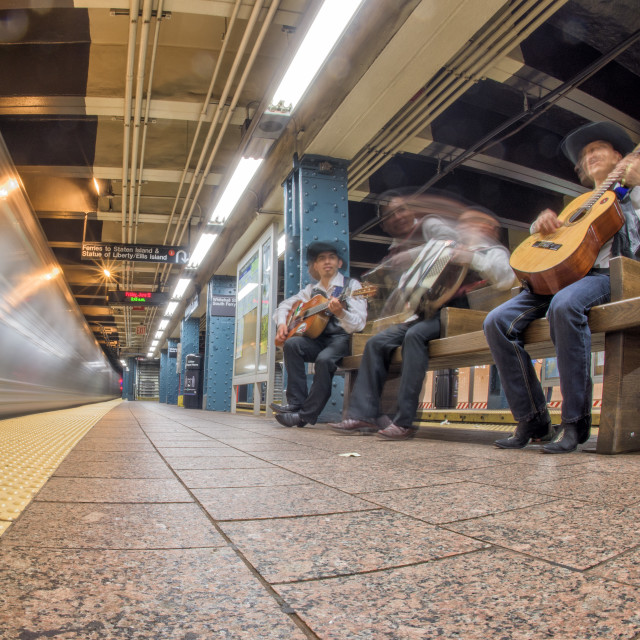 """""""NEW YORK - USA - 13 JUNE 2015 - Mexican players in metro station"""" stock image"""