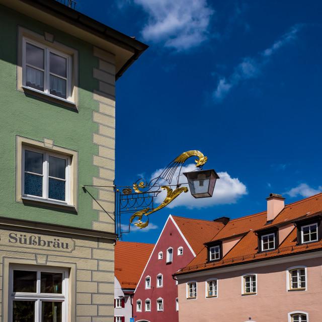 """Landsberg am Lech, nose shield of a restaurant"" stock image"