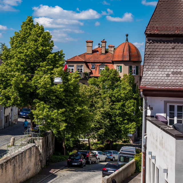 """Landsberg am Lech, street to the city wall"" stock image"