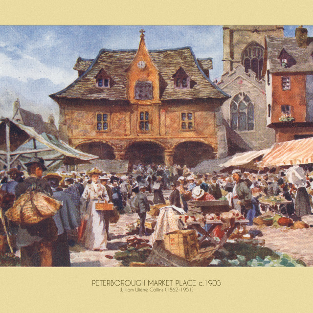 """Market Place Print (c.1905)"" stock image"