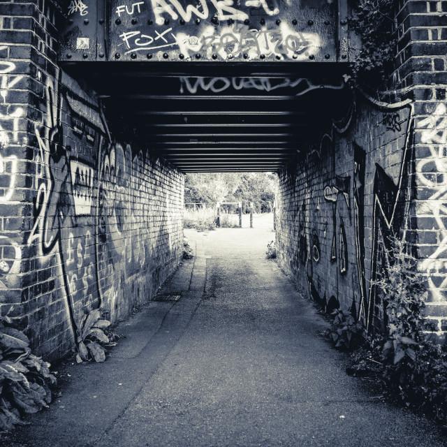 """Coldhams Common Graffiti Bridge, Cambridge UK."" stock image"