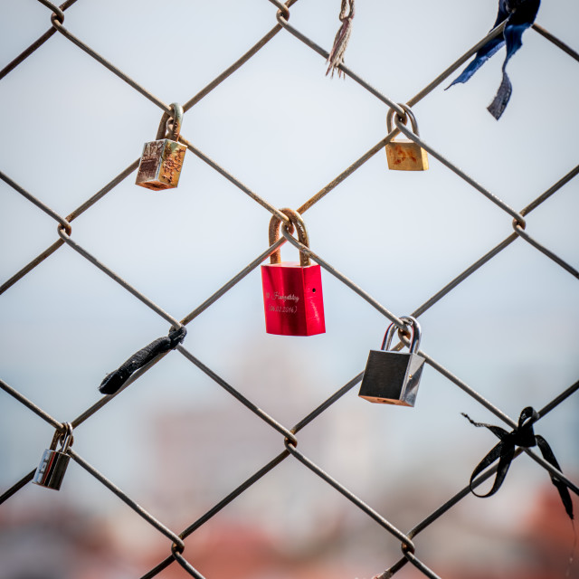 """Lovelocks in love together"" stock image"