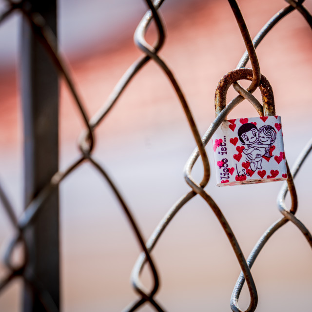 """Single love lock"" stock image"