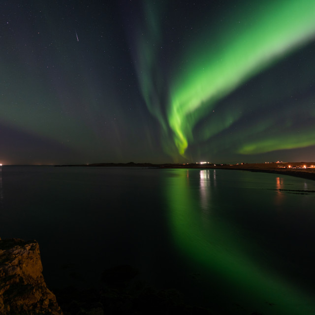 """The northern lights at Kjalarnes"" stock image"