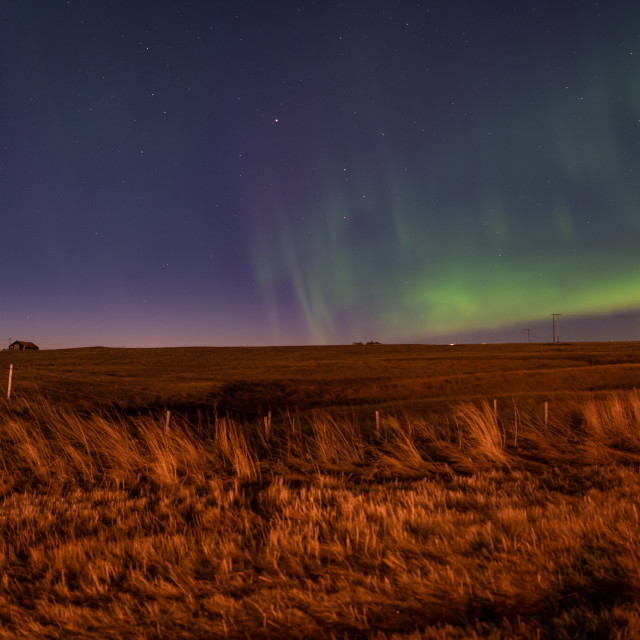 """Northern lights in the countryside"" stock image"