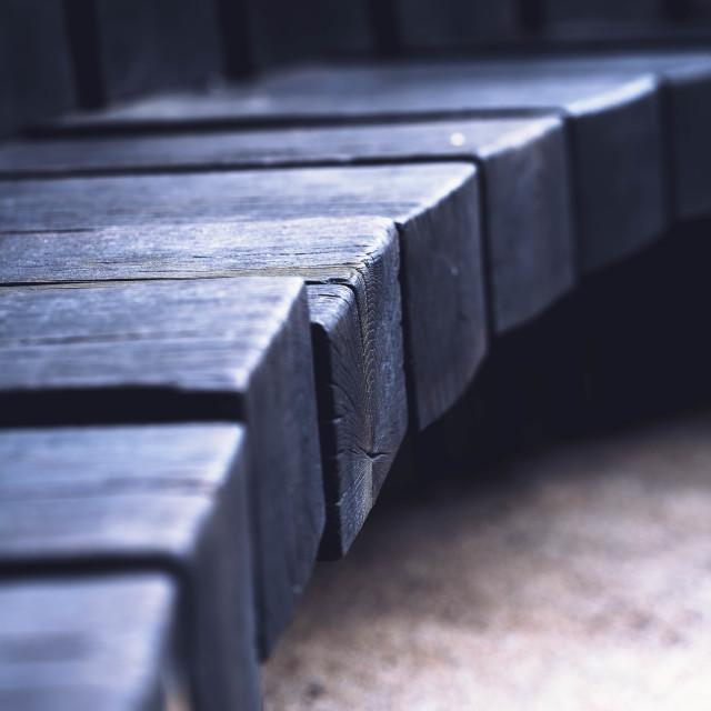 """Wooden Bench, Cambridge UK."" stock image"