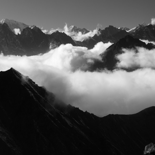 """Afternoon view of the Himalayas in BnW"" stock image"