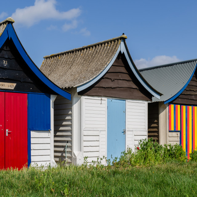 """""""Mablethorpe Beach huts"""" stock image"""