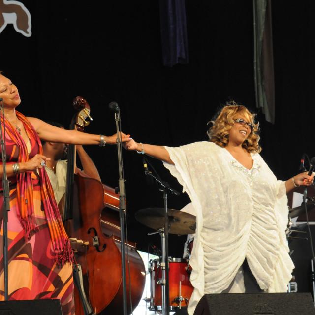 """Judy Spellman and Barbara Shorts at Jazz Fest"" stock image"