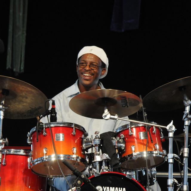 """Herlin Riley at Jazz Fest"" stock image"