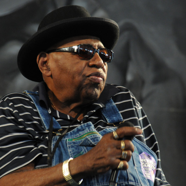 """Rockin Tabby Thomas at Jazz Fest"" stock image"