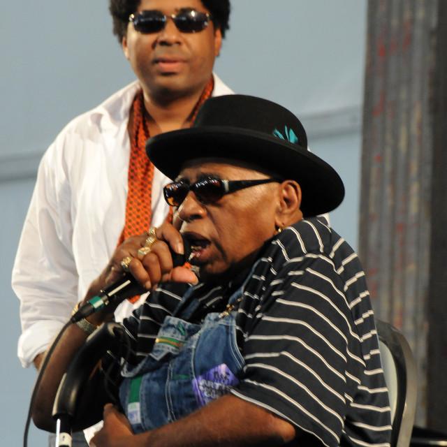 """Rockin Tabby Thomas and Chris Thomas King at Jazz Fest"" stock image"