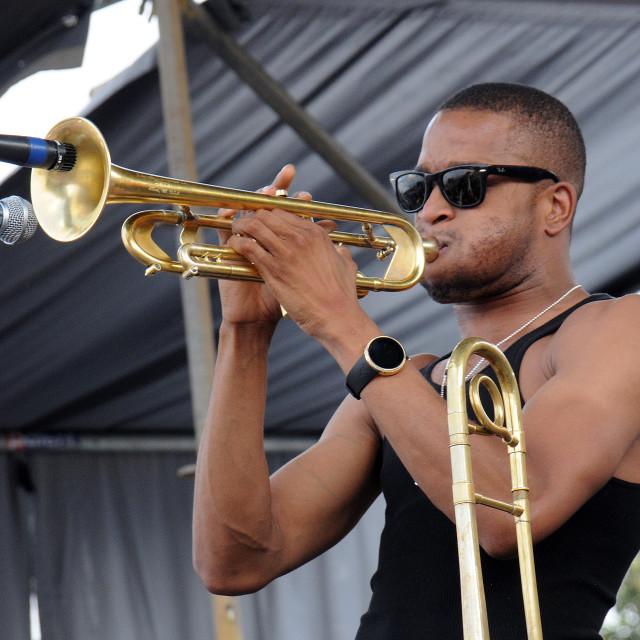 """Trombone Shorty at French Quarter Fest"" stock image"