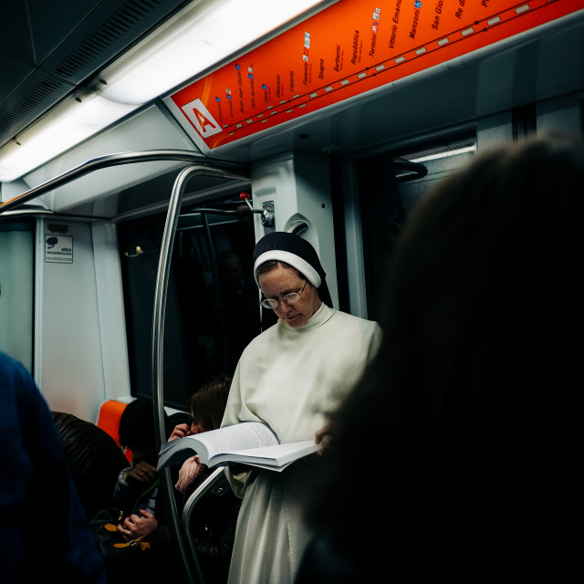 """Nun in the city"" stock image"