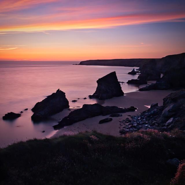 """""""Bedruthansteps, Cornwall, UK."""" stock image"""