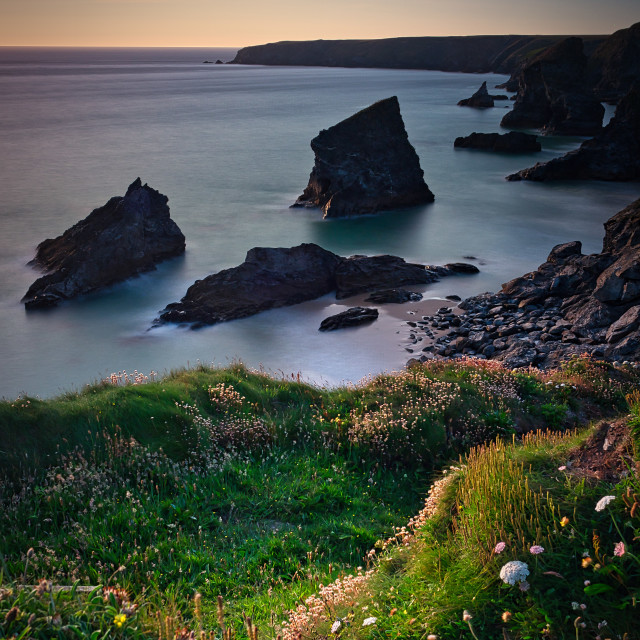 """Bedruthan steps, Cornwall, UK"" stock image"