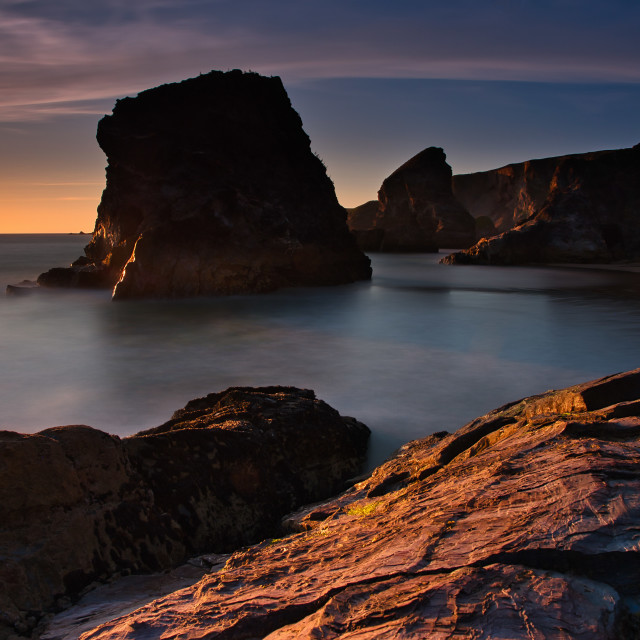 """Bedruthan steps, Cornwall, .UK"" stock image"
