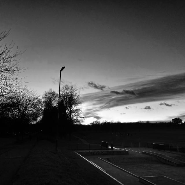 """Skate Park at Sunset"" stock image"