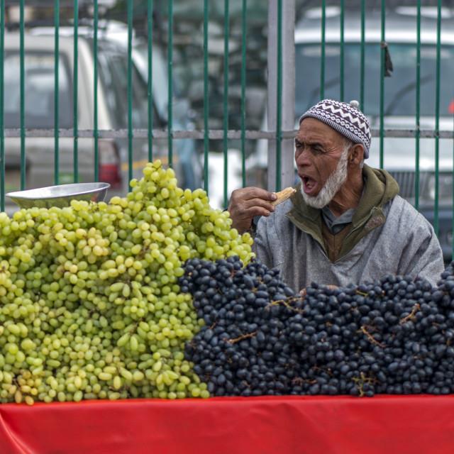 """A fruit seller"" stock image"