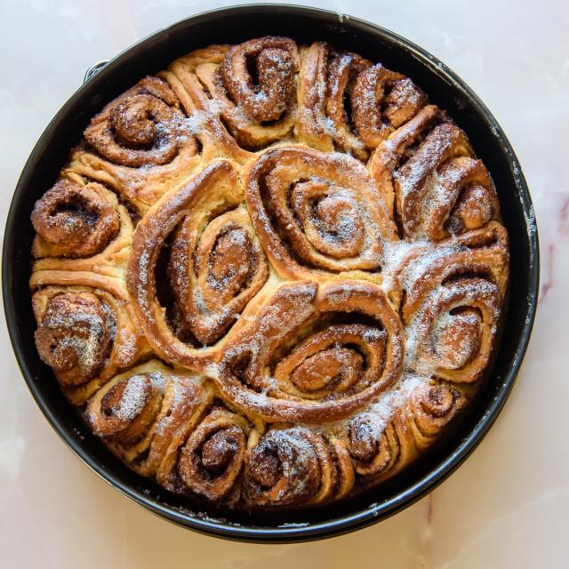 """""""Homemade Cinnamon roll. Freshly baked."""" stock image"""
