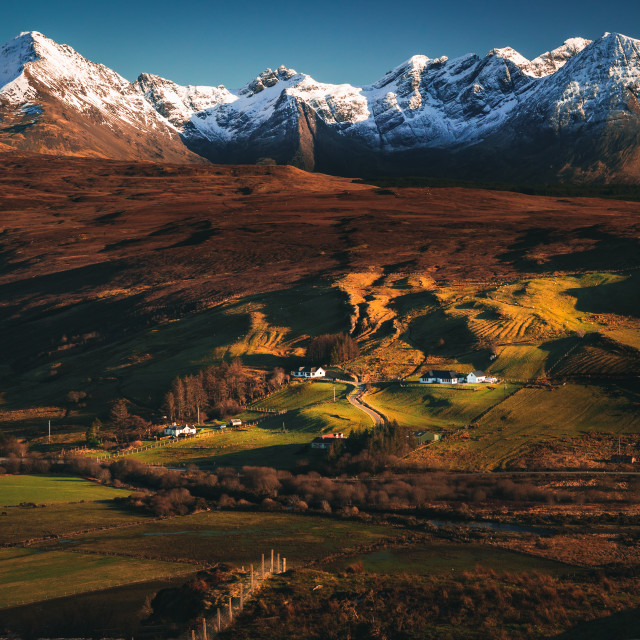 """""""Village nestled at the foot of the Cuilin mountains"""" stock image"""