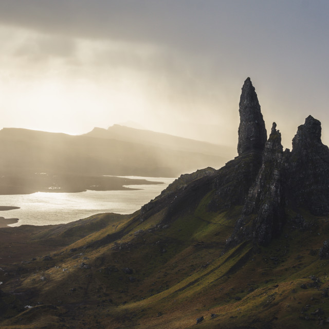 """""""Sunrays at the old man of Storr"""" stock image"""