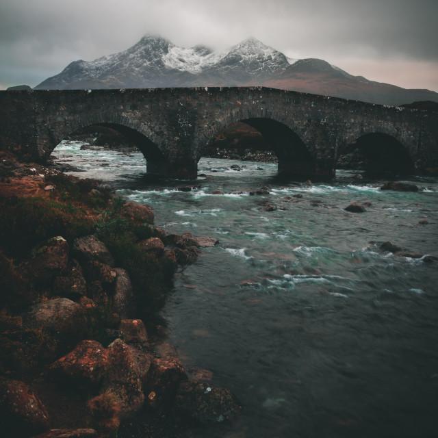 """Old Sligachan bridge"" stock image"