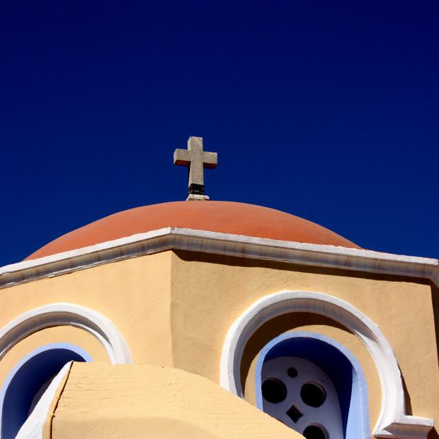 """Greek church on Symi"" stock image"