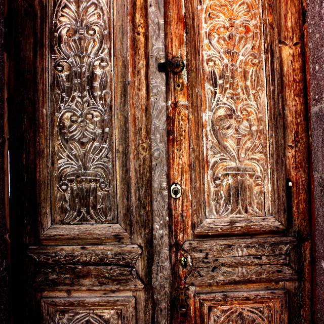 """A wooden door in Hora on Patmos"" stock image"