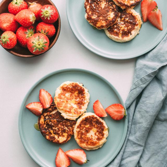 """Cottage cheese pancakes, syrniki, ricotta fritters"" stock image"