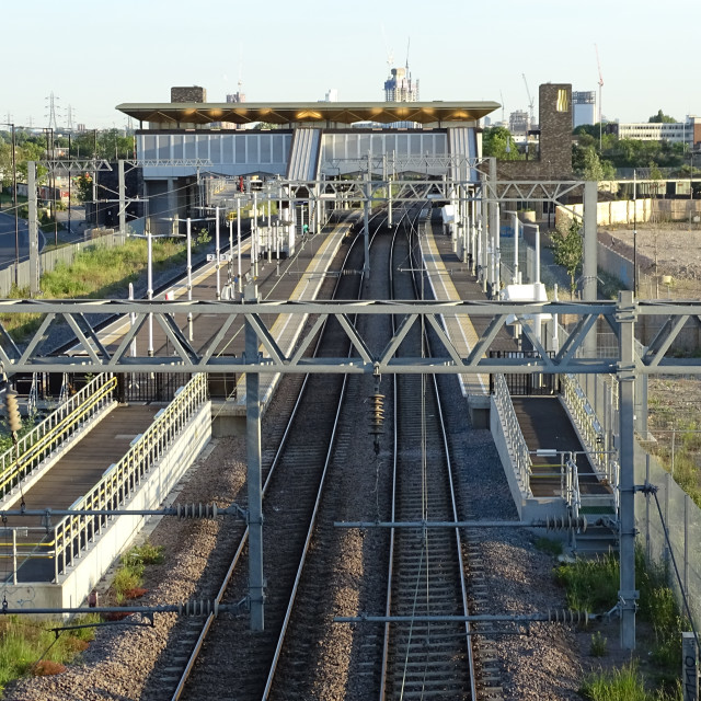 """Meridian Water Overground Train Station"" stock image"