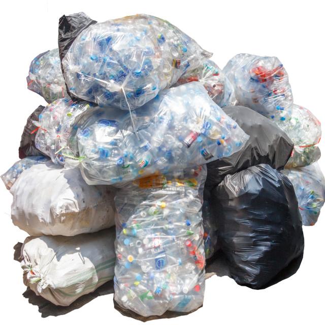 """""""Sacks of plastic bottles"""" stock image"""