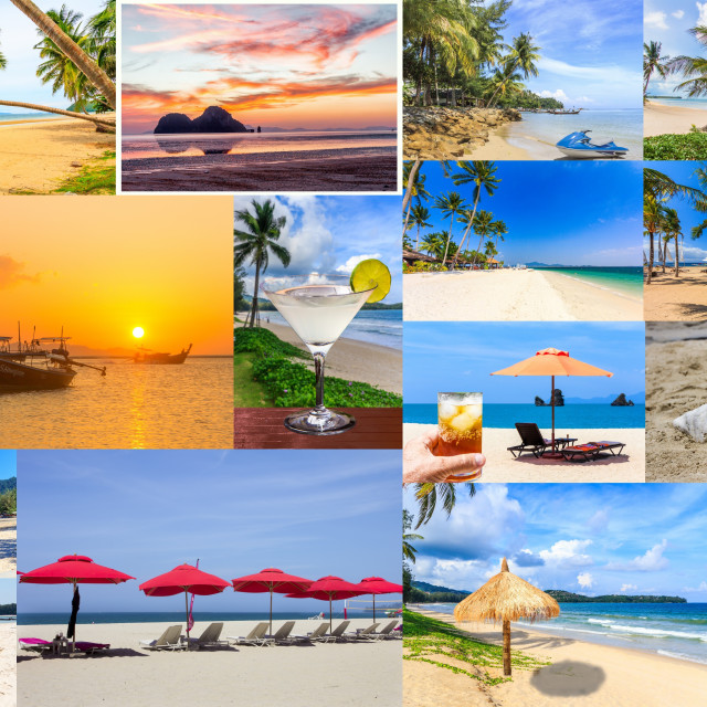 """""""Collage of tropical beach photos"""" stock image"""