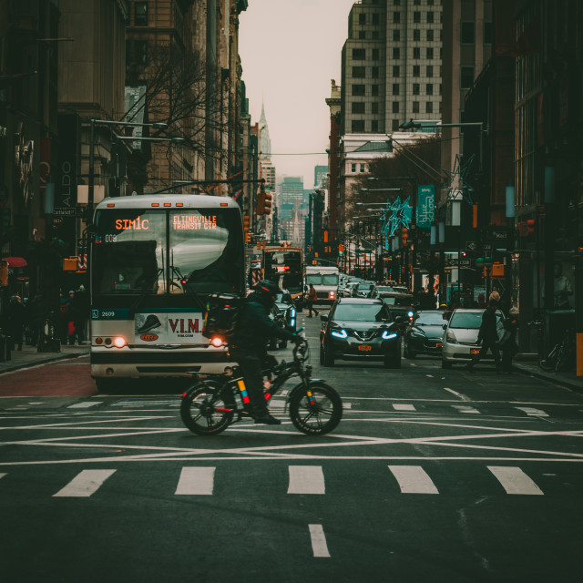 """""""Cyclist in NYC"""" stock image"""