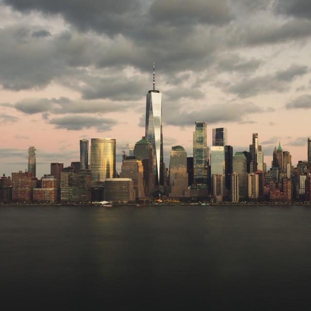 """NYC Skyline at sunset"" stock image"