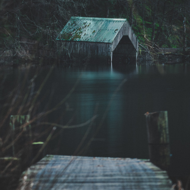 """""""Loch Ard boat house"""" stock image"""