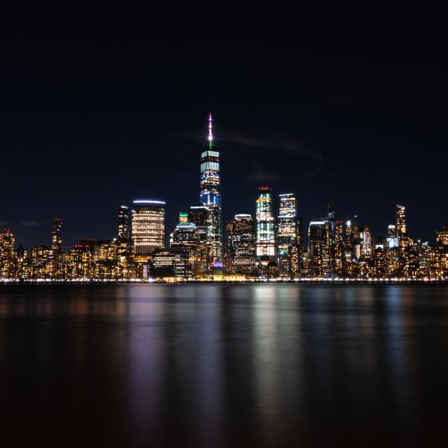 """""""NYC Night Skyline"""" stock image"""