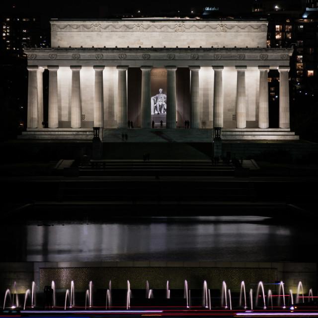 """Lincoln memorial at night"" stock image"