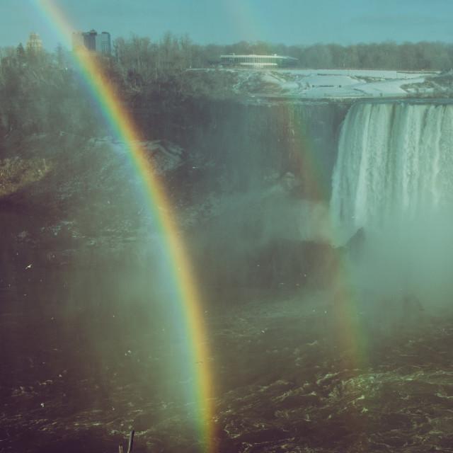 """Niagara falls Rainbow"" stock image"