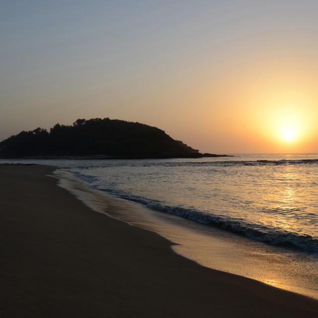 """Crampton Island Sunrise Lake - Tabourie Beach Australi"" stock image"