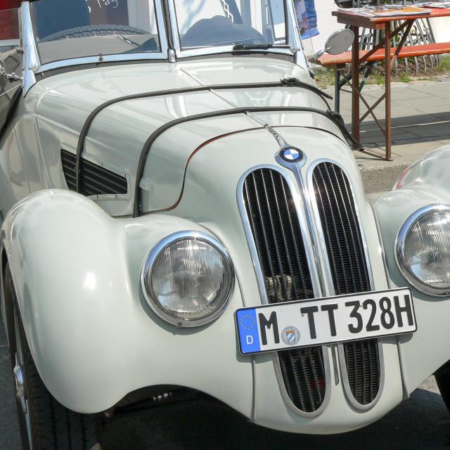 """Close up of radiator on white BMW 328."" stock image"