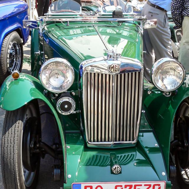 """Close up of radiator on green MG TC"" stock image"
