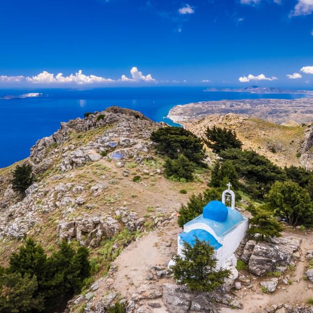 """Top of mountain in Kos island Greece"" stock image"