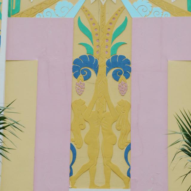 """Art Deco mural, Miami Beach"" stock image"