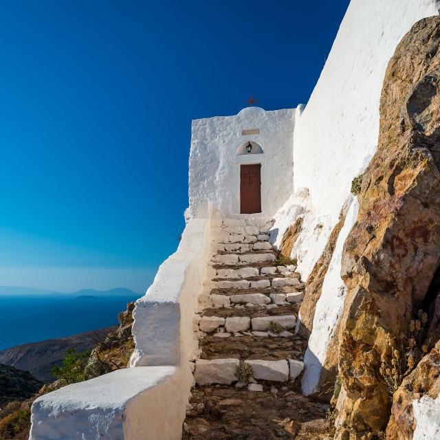 """Prophet Elias church in Patmos island Greece"" stock image"